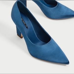 Zara Blue Satin Pointed Toe Pump Size 9